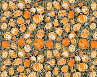df23f7f196a42 Pumpkin Fabric Fall Goodness Pumpkin Party Black Cori Danitini 100% Premium  Cotton