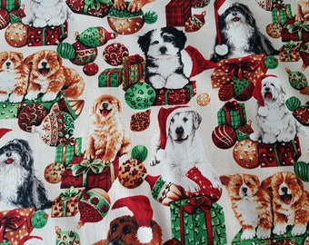 DOGS  IN  CHRISTMAS  HATS  ON  GLITTERY  BLUE    100/% Cotton Fabric      By Yard