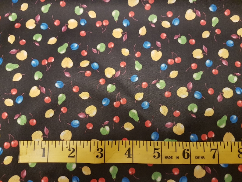 Apples Cherries fabric by the Metre Plums on Black PUL fabric Diaper Waterproof Laminated fabric Pears Fruit PUL fabric by the Yard