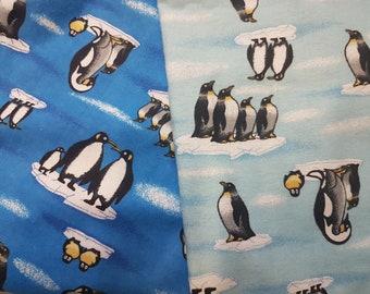 Penguin FLANNEL, Family of Penguins FLANNEL, fabric by the metre, Flannel fabric, fabric by the yard