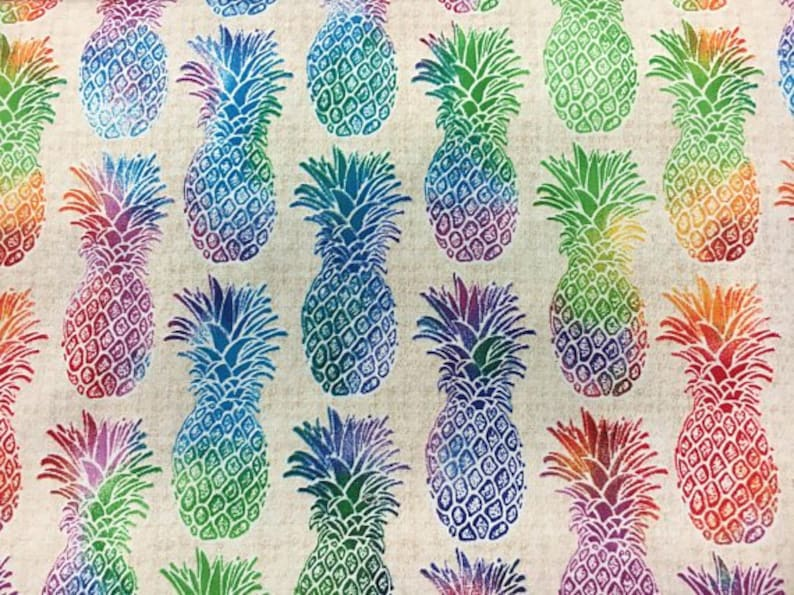 Tie dye Pineapples, multiple colors perfect summer print, for picnic  tablecloth, bbq apron, pot holders, pineapple fabric, fruit fabric