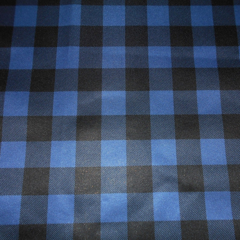 Food Safe Laminated fabric Diaper Waterproof Laminate fabric PUL - Black  and Blue Plaid - By The Metre