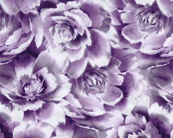 Rose fabric, Two Daughters™ Cotton Fabric-Gray Floral Packed - 100% Cotton fabric by the Yard, fabric by the Metre