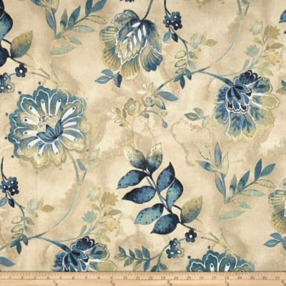 Home Decor Fabric, Kelly Ripa Home Light Hearted Indigo Fabric, Cotton Duck, Upholstery fabric, Drapery, fabric by the Yard, 54
