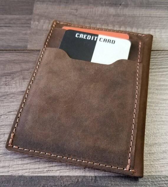 Portefeuille en cuir personnalisé, portefeuille de poche sur le devant, le portefeuille, portefeuille mince, titulaire de la carte de crédit, porte-monnaie