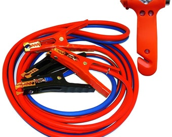 Unique Imports 1 Pair Replacement Booster Cable 800 Amp Rating Clamp Set Commercial Red+Black with Terminals Jumper Replacement Clamp Boot