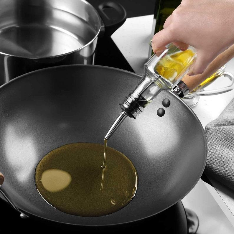 Set of 2 Italian Glass Olive Oil Dispenser Sprayer Bottles with Pourer and Funnel With Air Tight Spout Cap for Oil /& Vinegar Cruet for...