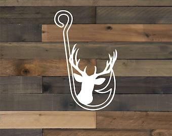 deer and hook vinyl decal