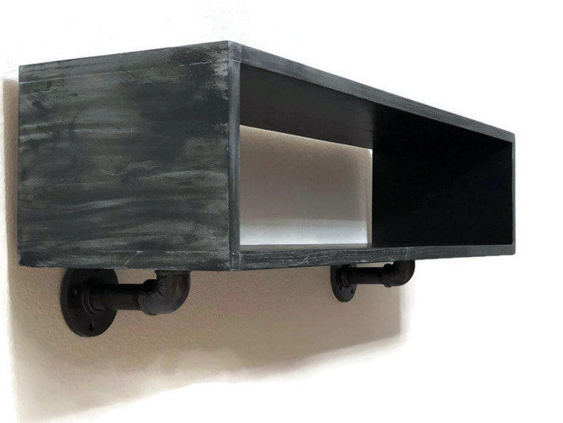 Floating cube shelf/hanging entertainment shelf/floating component  shelf/industrial floating shelf/ entertainment shelf/floating black shelf