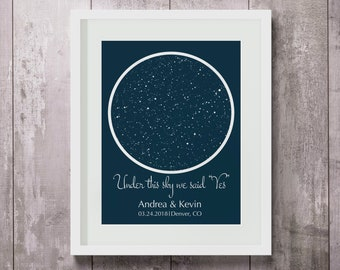 PERSONALIZED SKY MAP, Custom Map Print, Night Sky Map, Sky Star Map, Star Map Art, Sky Map Canvas, Sky Map Poster, Paper/Canvas Print Map