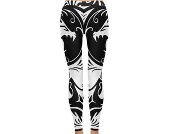 Black and White Yin Yang Tribal Design Dragon Leggings