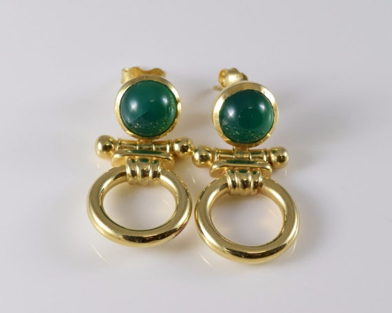 Vintage 14K Yellow Gold Green Stone Earrings