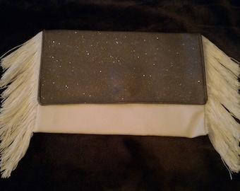 White fringe evening bag