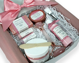 Spa Gift Set, Rose Clay Mask, Pink Quartz Face Roller, Vegan Self Care Birthday Present for Her, Wife, Mom, Friend, Rose Gold, Christmas