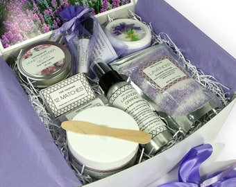 Spa Gift Set, Lavender Birthday Present for Women, Anniversary Care Package, Her, Mom, Sister, Girlfriend, Coworker, Christmas Bath Box