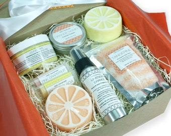 Spa Gift Set, Citrus Birthday Present for Women, Christmas Care Package, Her, Teen Girl, Mom, Sister, Girlfriend, Coworker, Bath Box, Lemon