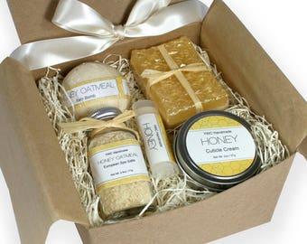 Spa Gift Set, Honey Oatmeal, Birthday Present for Mom, Sister, Girlfriend, Friend, Cottage Core, Wedding, Box, Women, Bee, Bath Set Box