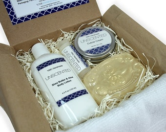 Unscented Spa Gift Set, Self Care for Her, Him, Bath Kit, Soap, Scent Free, Man, Woman, Chemo Care, Chemotherapy, Cancer Recovery Gift Box