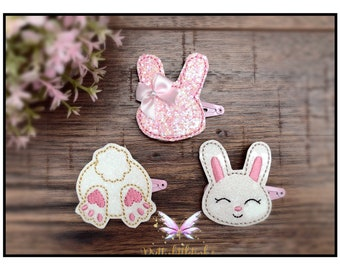 Blue Rabbit Set 2 Hair Clips Cabochon Miniblings Hairpin Bunny Easter Cony