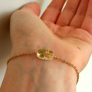 925 silver or Rose gold dainty bracelet Pressed flower jewelry Yellow Mimosa green Fern /& Ivy leaves in resin charms Delicate gift for woman
