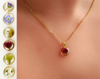 Nature Jewelry Botanical Jewelry Real Flower Necklace Real Burgundy  Pressed Flower Jewelry -Large Gold Oval Flower Statement Necklace