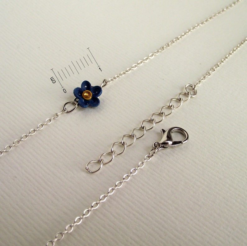 Forget me not necklace Tiny flower necklace 925 silver chain Cute everyday jewelry Navy blue quill paper Choker necklace charm for women