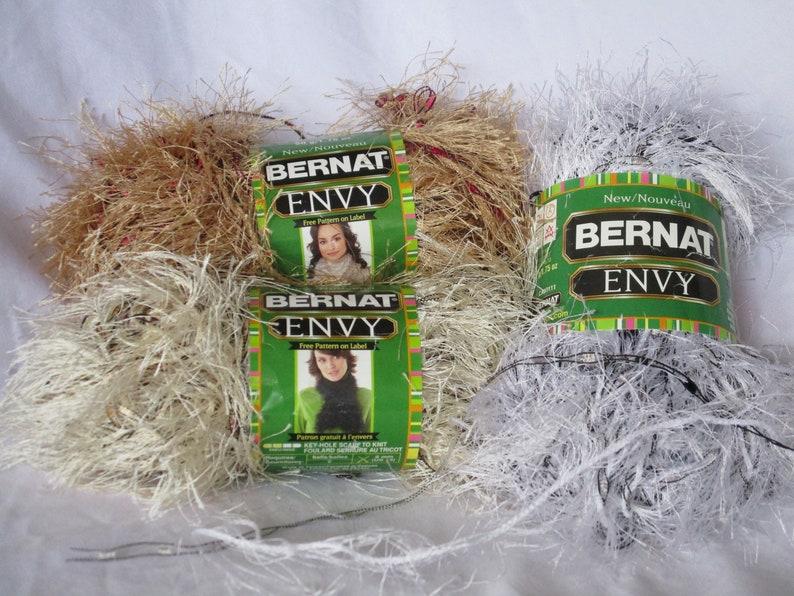 Bernat Envy Nouveau; 2-Ply Long Eyelash Slender Trellis Ribbon Black White Cream Tan Brown Silver Burgundy Poly Garments Accessories Home