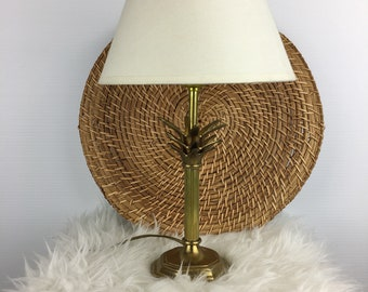 Vintage Brass Pineapple Mid Century Accent Table Lamp