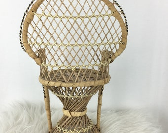"""Vintage Wicker Plant Stand Boho Decor Doll Chair 15"""""""