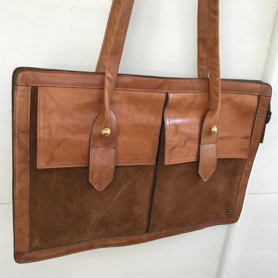 Vintage Suede and Leather Satchel Briefcase