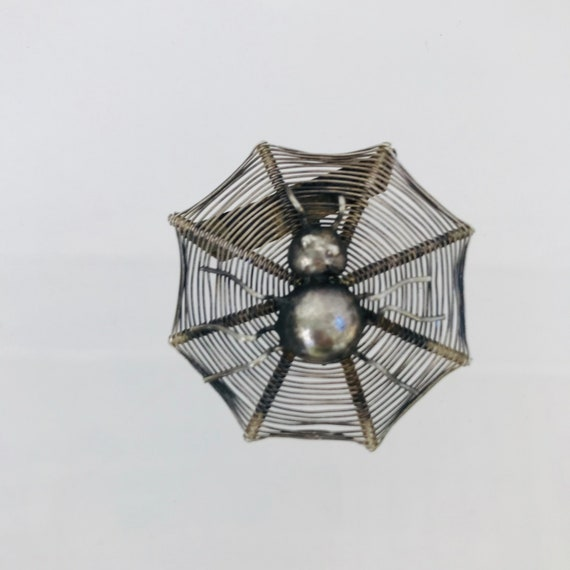 Mexican Sterling Spider Web Brooch