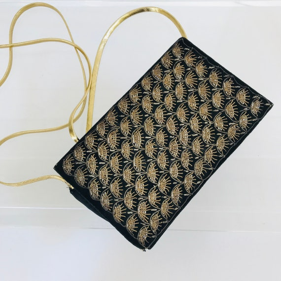 Embroidered Gold Bullion Velvet Bag