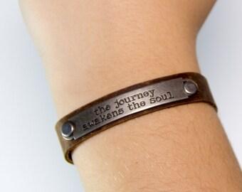 Inspirational One of a Kind Genuine Leather Handmade Bracelet