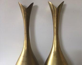 Vintage Brass Vase Pair