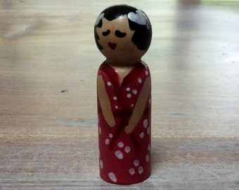 Hand painted wooden peg doll