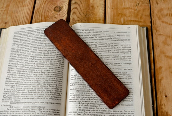 Tooled leather bookmark in basket weive pattern bookworm page marker Book lover gift leather anniversary 3rd anniversary