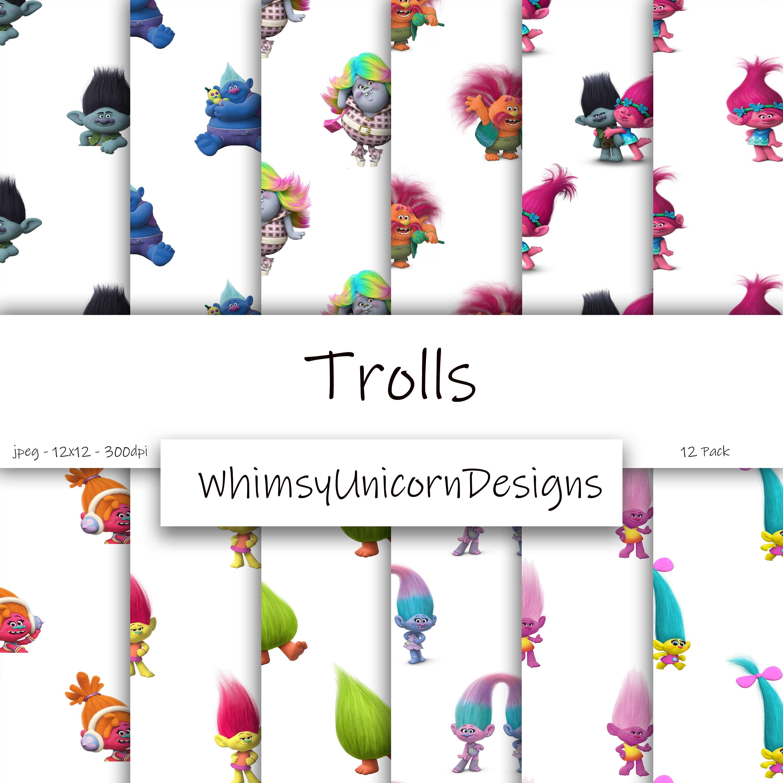 Trolls Digital Paper Pack 12 Pack Poppy the Troll Branch   Etsy