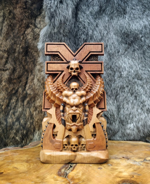 Blood God Khorne Warhammer 40k chaos sci fi gift woodworking souvenir Skull carving Statue Altar Demon Ax