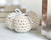 Pumpkin Decoration - Autumn Table Decor - Halloween Ornament - Rustic Fall Harvest Home Decor - Thanksgiving Small Crochet Farmhouse Pumpkin