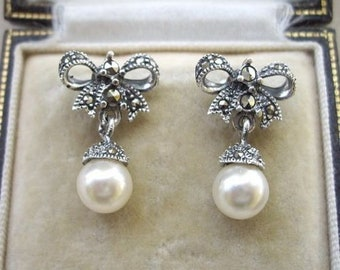 4b14402d6 Deco Inspired Marcasite Silver Bow & Faux Pearl Drop Earrings