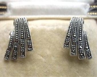 Elegant Art Deco Design Silver & Marcasite Angular Stud Earrings