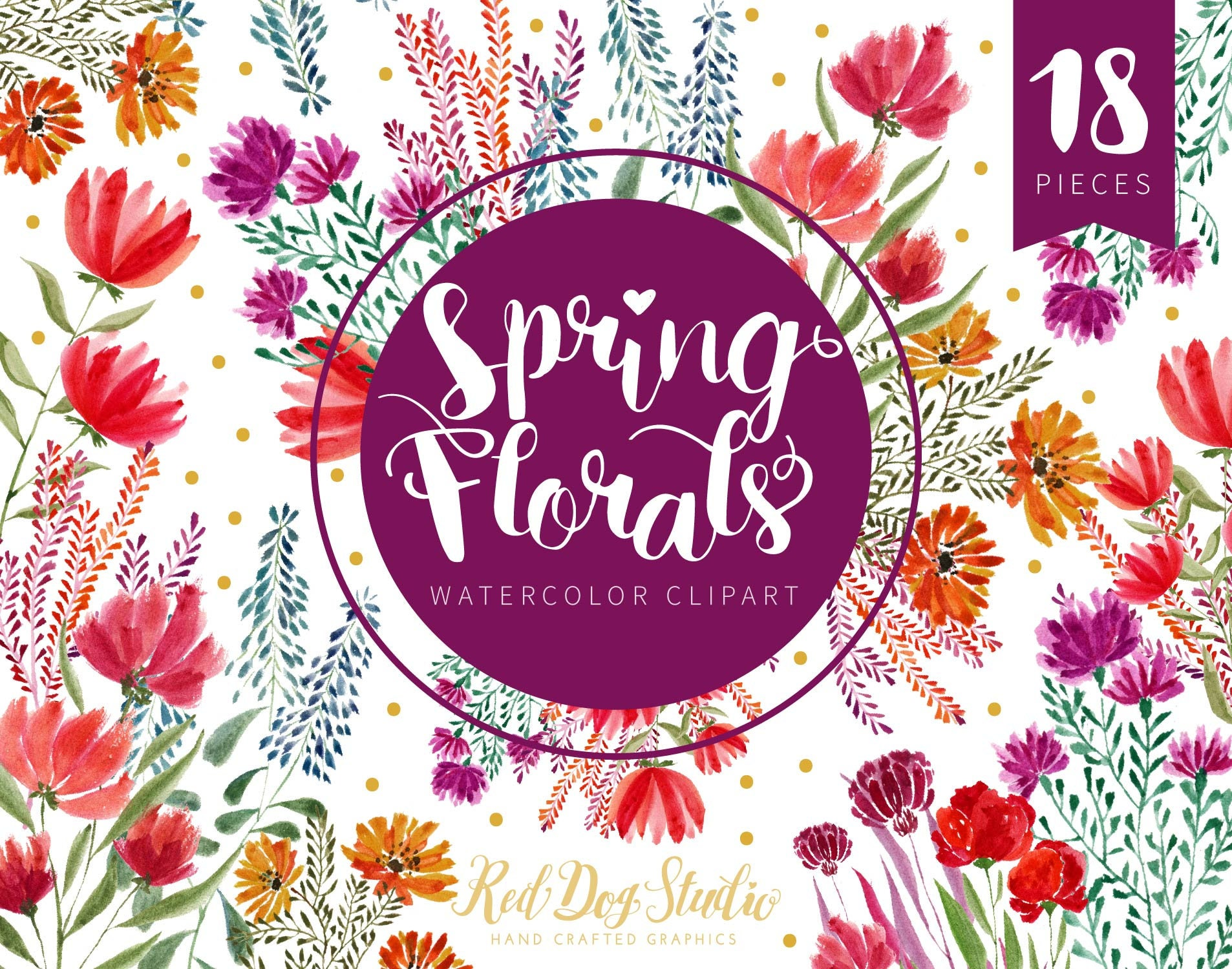 Spring Floral Clipart Watercolor Flowers Watercolor Wedding Etsy