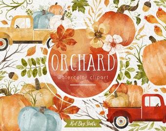 Autumn Pumpkin Clipart Illustrations, Watercolor Pumpkin Clip Art, Watercolor Truck, Truck with Pumpkins, Acorn, Watercolor Fall Wedding