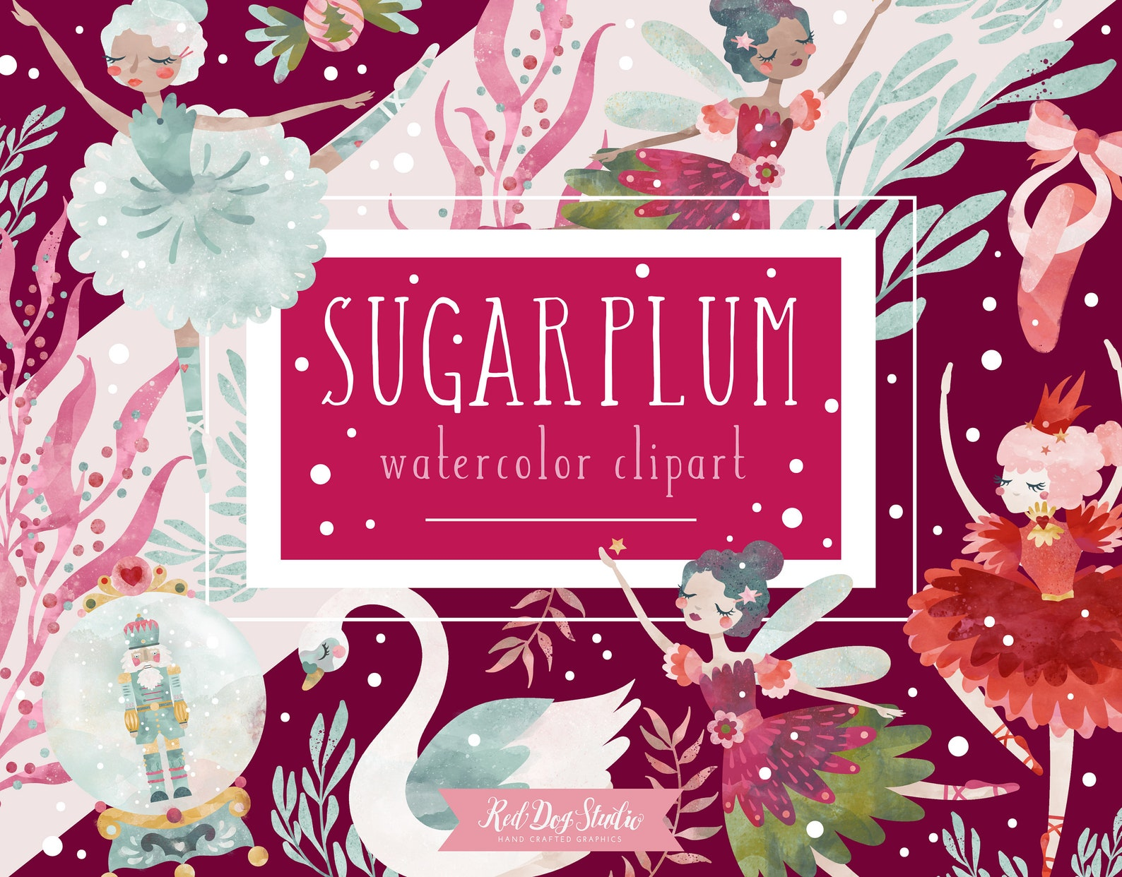 sugar plum fairy watercolor clipart nutcracker ballet clip art graphics, christmas ballerina, swan ballet shoes, snowglobe, cand