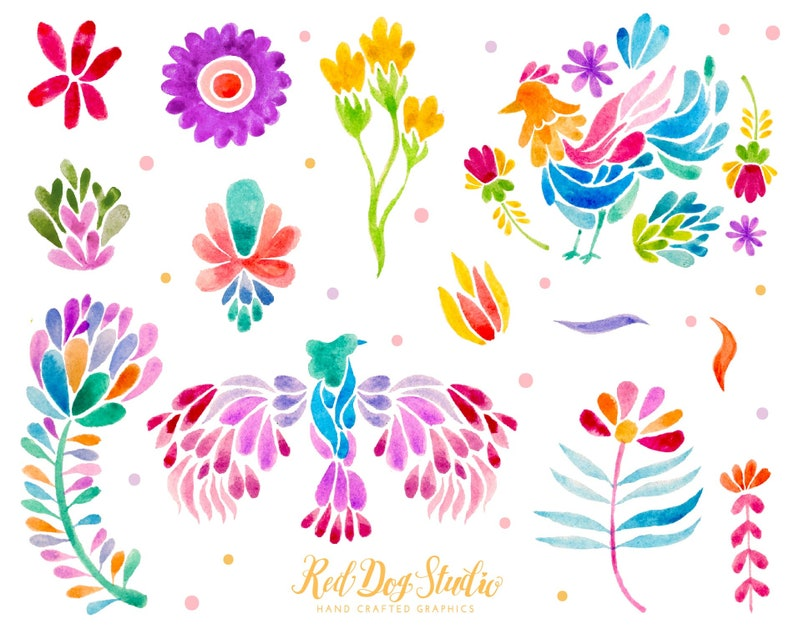 Mexican Party Colorful Fiesta Hand Painted Designs Desert Mexican Otomi Clipart Volume 2 Mexican Watercolor Floral Clip Art Otomi Animals