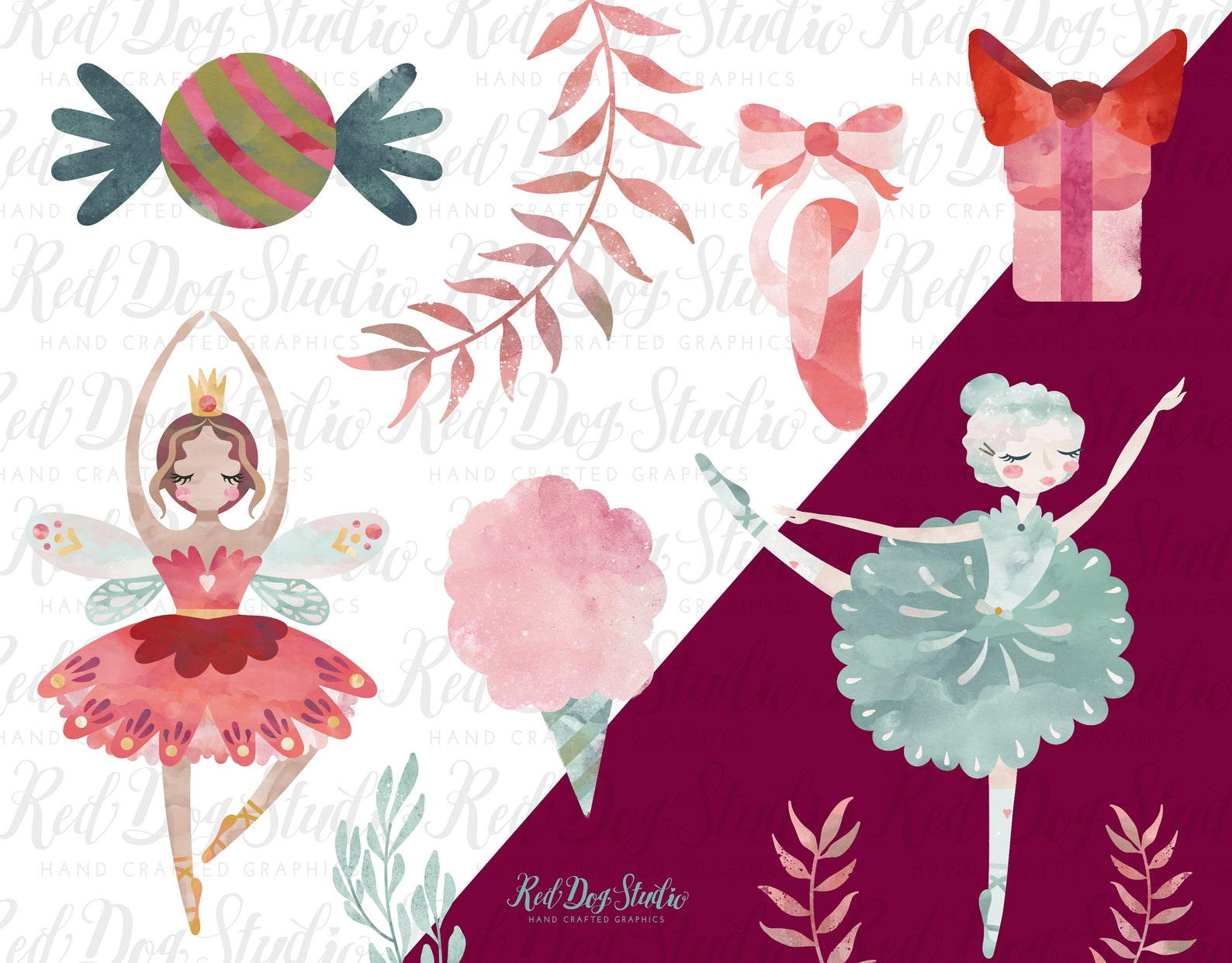sugar plum fairy watercolor clipart nutcracker ballet clip art graphics, christmas ballerina, swan ballet shoes, snowglobe, cand