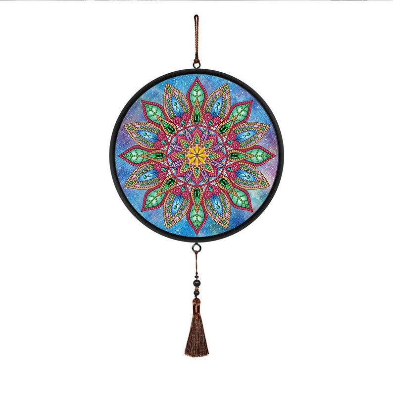 5D Mandala Diamond Painting Kits with Tassels Round Frame Wall Hanging Special Shape Partial Drill Home Decoration Art Craft DIY Kit