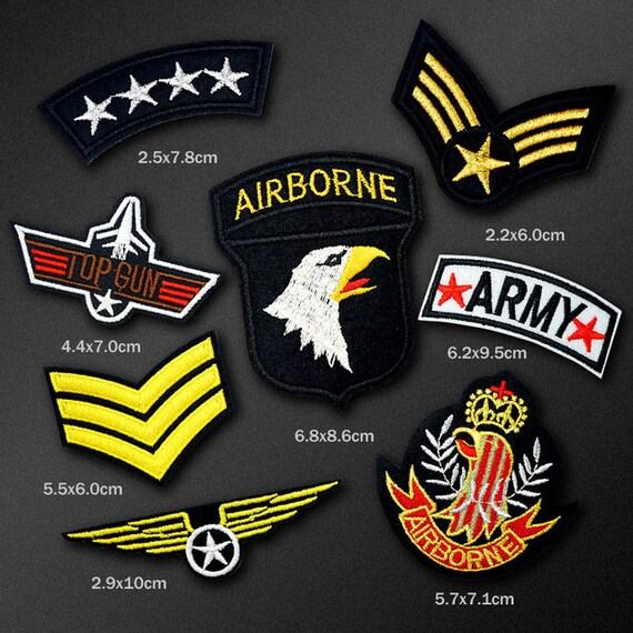 8 Pcs AIRBORNE ARMY Military Iron On Patch Embroidered  0d28624e8bd