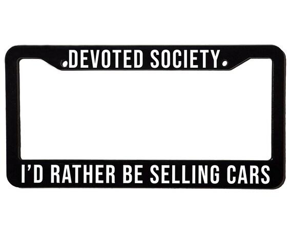DEVOTED SOCIETY CARS | License Plate Frame | Spencer Berke | Black Frame | White Text
