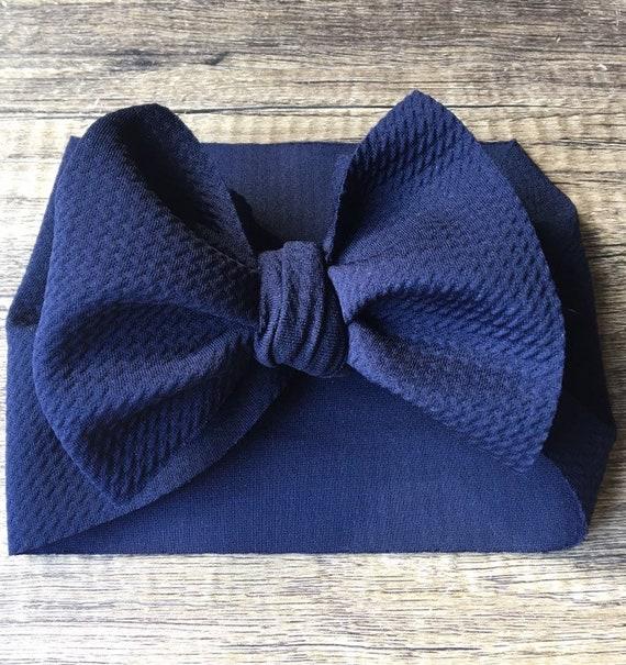 Navy blue headwrap Navy head wrap Baby headband Baby stretch wrap Baby head wrap